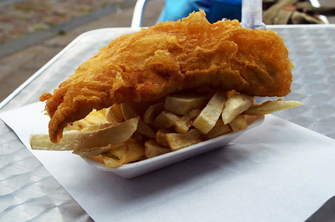 Fish and Chips plate from a local shop in St Ives