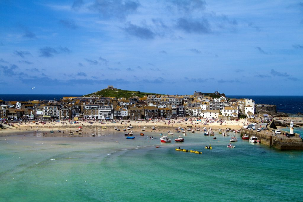 St Ives Sky view of the harbour on a sunny day