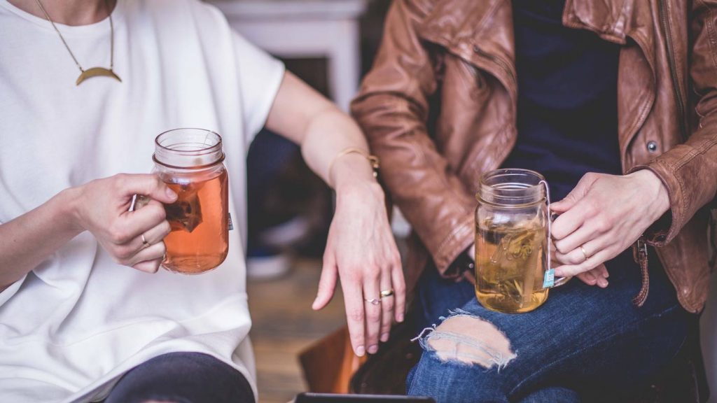 couple drinking at food festivals in cornwall