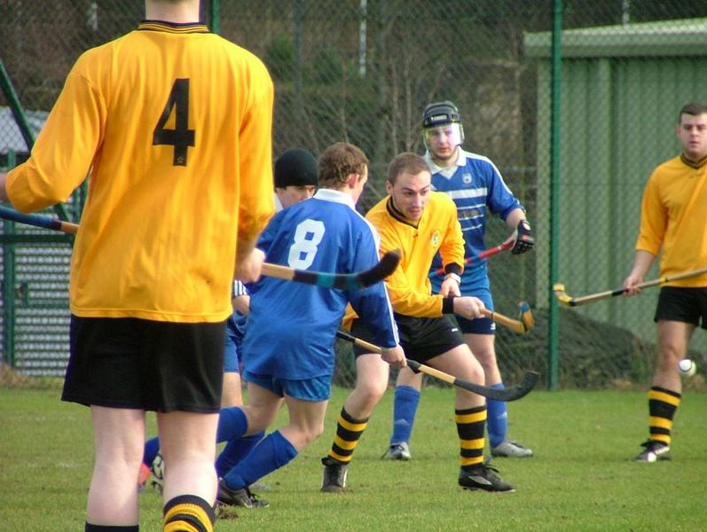 Men playing Shinty