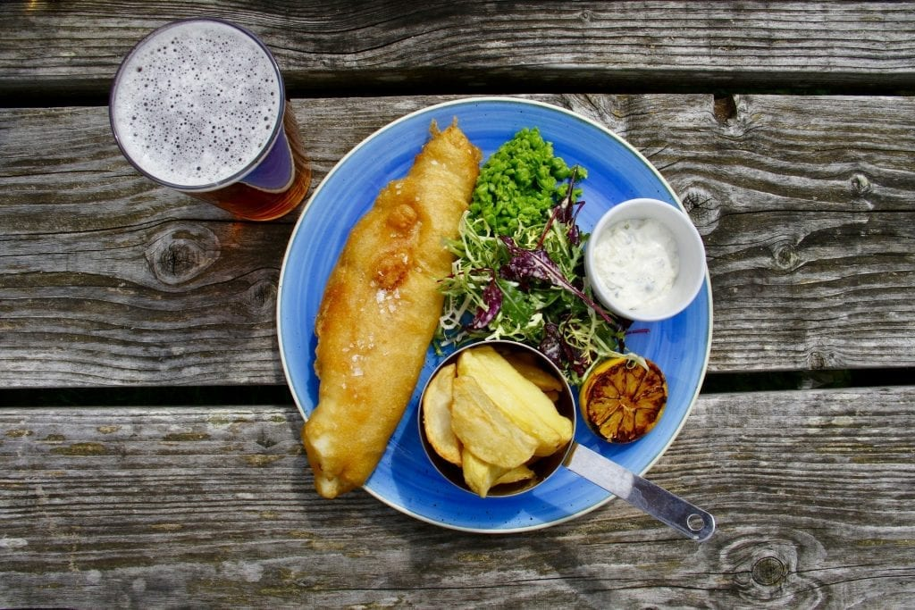 fish and chips with a pint