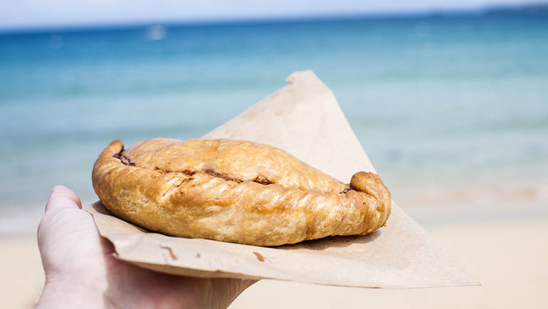 Cornish Pasty at the Beach in St Ives Cornwall