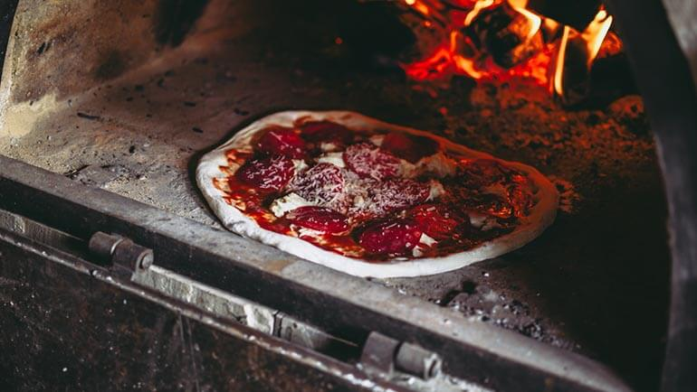 CBH St Ives takeaway - wood fired pizza in oven