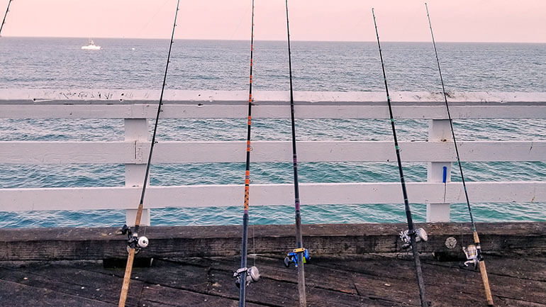 fishing rods propped against pier