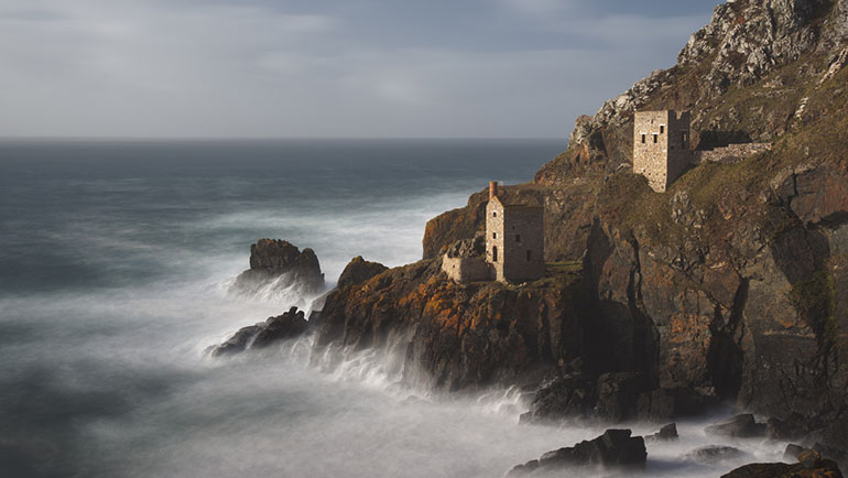 the stormy seas at this dramatic coastal location in Cornwall