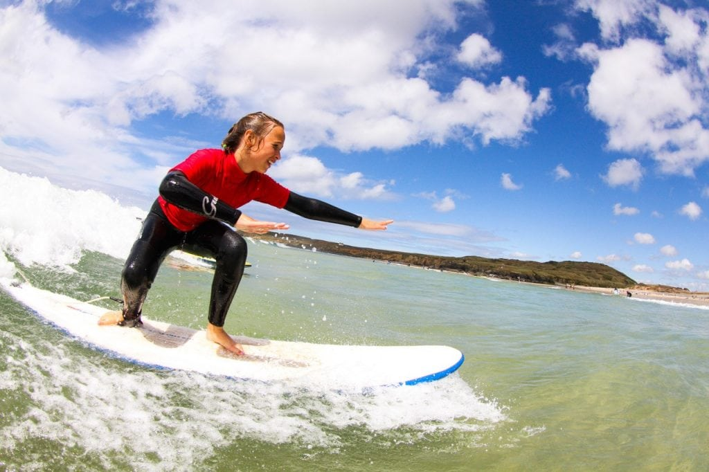Gwithian Surf Academy girl surfing