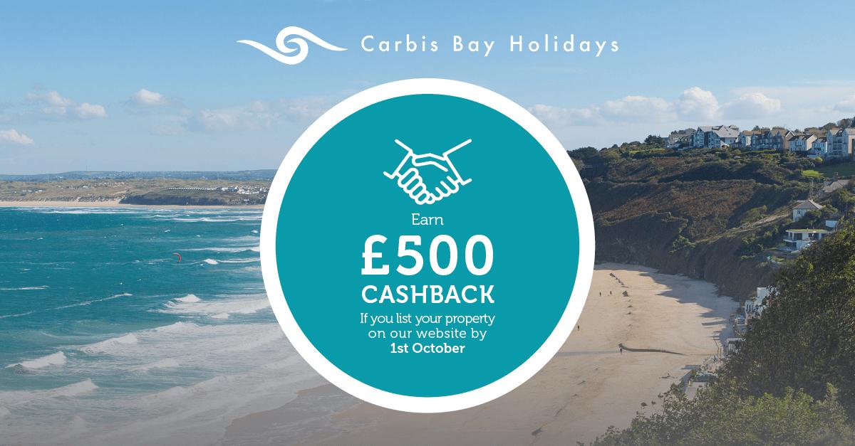 Carbis Bay Holidays property owners £500 cashback offer