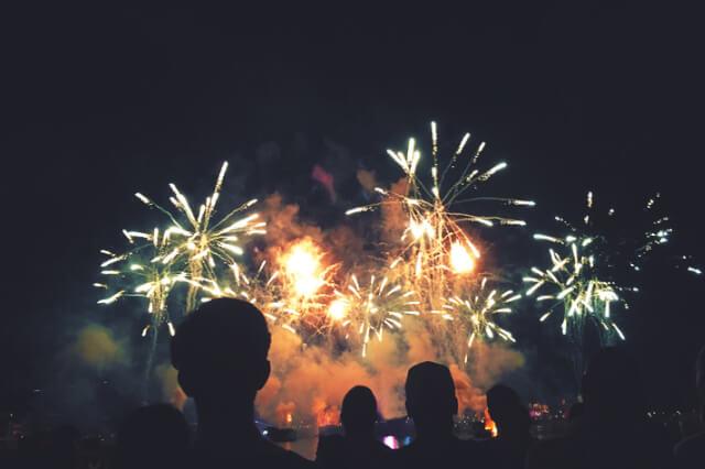 Crowd watching fireworks Cornwall.
